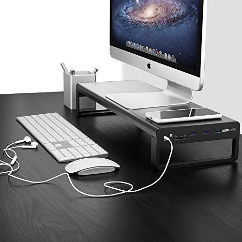 Vaydeer 4 USB 3.0 Aluminium Monitor Stand Metal Riser, mit 1x3.5mm Audio Port zum Anschluss Ihres Headsets oder Mikrofons, 1xTF und 1xSD eingebauten Kartenlesern
