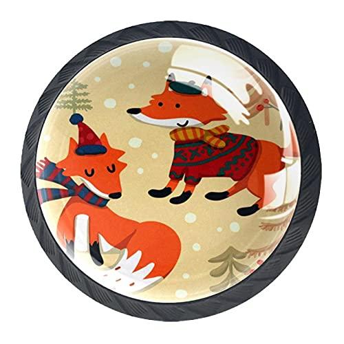 4pcs Tiradores de muebles de, Perilla del cajón de Gabinete maneja Manija de los muebles Tiradores para muebles Decoración de Halloween zorro lindo de dibujos animados