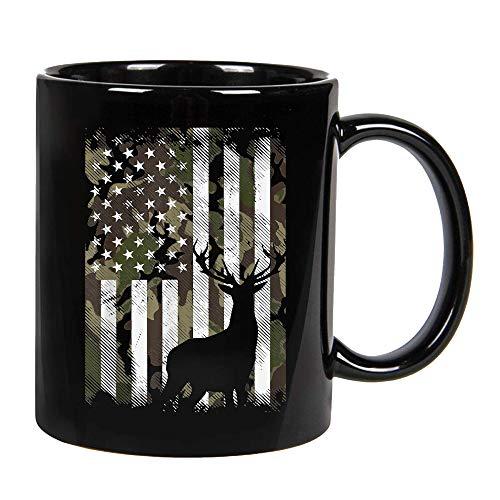 Camo American Flag Deer Elk Buck Hunting USA Hunter Gift Ceramic Coffee Mug, Cup 11oz, 15oz (11oz)