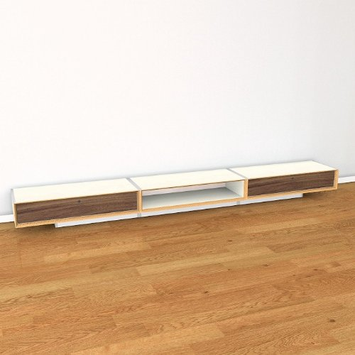 Eichenfrau Kommode/Lowboard 300x28x42 cm (BxHxT) form560-2 Multiplex Birke Naturweiß und Nussbaum massiv