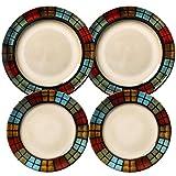 ZFFSC - Juego de vajilla de porcelana con diseño de 3 piezas, juego de vajilla, plato pequeño, para 2 o 3 personas, 3 piezas, C: 4 piece set