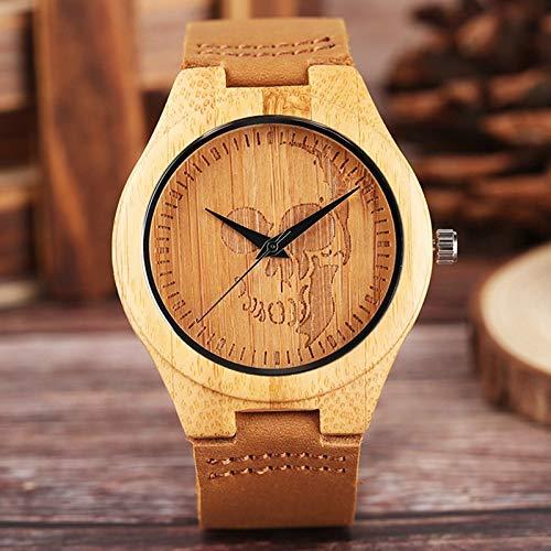 LCDIEB Reloj de Madera de Calavera gótica 100% Relojes de Pulsera de Cuarzo de bambú de Madera Originales Reloj Casual Deportivo de Cuero Genuino para Hombres