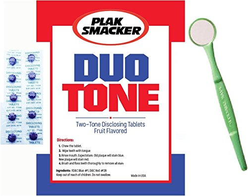 Duo Tone Plaque Disclosing Tablets With Mouth Mirror