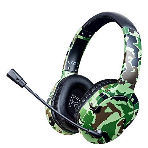 YONGX Fones de ouvido para jogos sem fio com microfone, fone de ouvido giratório 360°, fita retrátil, cancelador de ruído, copos de espuma de memória Fones de ouvido Bluetooth