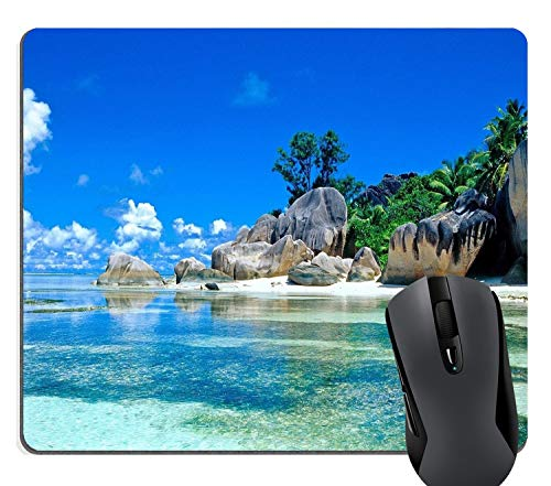 Wknoon Tropical Beach Coast Scene Gaming Mouse Pad Custom Design, Beaches France Seychelles Blu Sky Go Vacation Mouse Pads