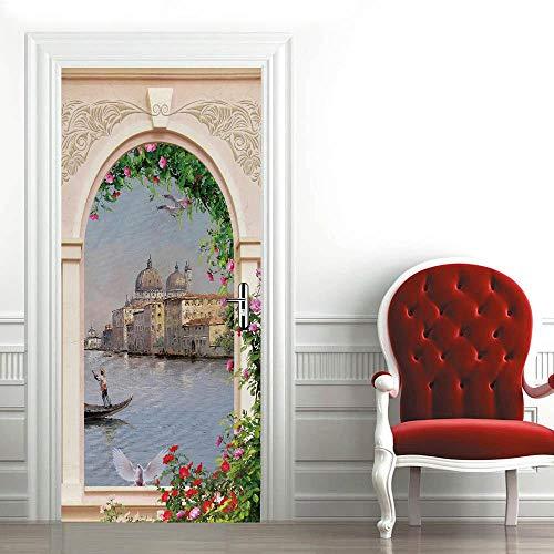 QHDHGR Calcomanías de las puertas en 3D Arcos y ciudad del agua pelar y Pegar el Vinilo desprendible de Las Etiquetas de Puerta para la decoración del hogar 80 x 210cm