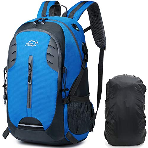 A AM SeaBlue Léger Sac à Dos De Randonnée 30L avec Housse De Pluie Sac à Dos Voyage pour Camping, Sport en Plein air,Alpinisme,Sacs de Trekking avec Port USB,Bleu