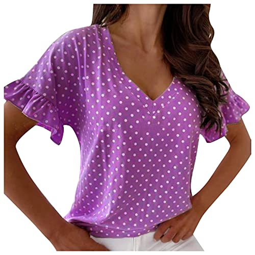 SNKSDGM Damen Oberteile Sexy Tunika Damen Sommer Polka Dot täglich Shirt V-Ausschnitt Blütenblatt Ärmel lässig Tops Bluse Tops für Damen Chiffon Bluse Damen Pullover Tunika Pullover Hemdbluse Blouses