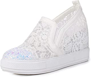 Bonrise Women Fashion Laces Low Top Slip On Wedge Sneakers Platform Increased Height Casual Sports Shoes