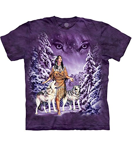 The Mountain Eyes T-Shirt, Herren, Dreams of Wolf Spirit Adult T-Shirt, Blue, XL, violett, Large