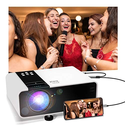 Jimwey Mini Projector, 1080P HD Supported 3000 Lux Portable Video Projector, Compatible with TV Stick, HDMI, USB , AV, DVD, for Multimedia Home Theater (3000 lux)