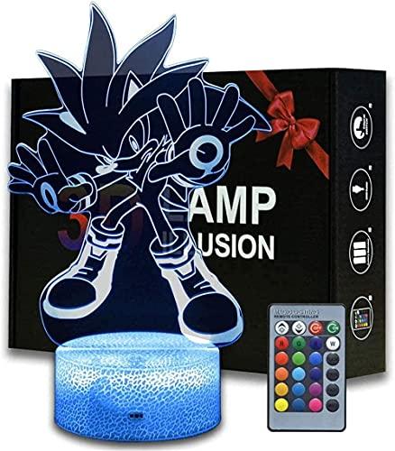 3D-illusion Sonic The Igelkotten nattlampa, anime bordslampa med fjärrkontroll barnrum dekoration, kreativ barnbelysning 7 färger
