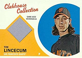 Tim Lincecum player worn jersey patch baseball card (San Francisco Giants) 2012 Topps Clubhouse #CCR-TL