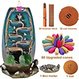 XinXu Incense Burner,5 in 1 Ceramic Backflow Waterfall Incense Holder with 7 Fragrances, Aromatherapy Ornament Home Decor with 80 Cones,30 Stick,20 Coil Incense,3 Artificial Lotus Leaf,1 Cushion