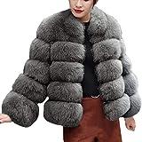 iHENGH Damen Herbst Winter Bequem Mantel Lässig Mode Jacke Frauenmode Faux Pelzmantel Stand Herbst Winter Warm Mantel
