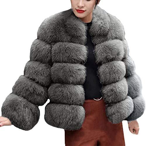 Becoler Abrigo De Abrigo de Piel Sintética De Lujo De Moda De Mujer Otoño Invierno Cálido Abrigo