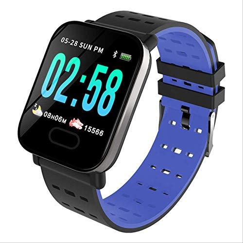 LLOOMMB Pulsera Inteligente Inteligente Bluetooth Bip Smartwatch Hombre Relogio Relojes Monitorización Digital del Ritmo cardíaco Reloj Inteligente Pantalla de MensajeAzul