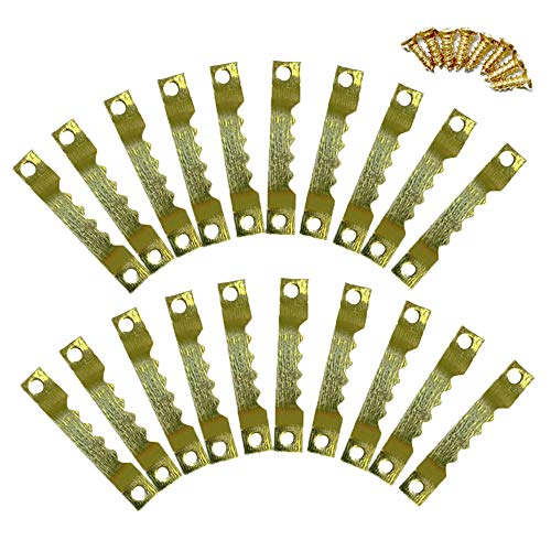 MINGZE Perchas de imagen, Colgadores para cuadros, Perchas para fotos de 40 mm, perchas para colgar del marco de diente de sierra de 50 unidades, orificio doble con tornillos, dorado