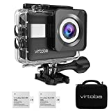 4K Action Camera, Virtoba by JVMAC WiFi 2.31' LCD Touchscreen 170° Wide-Angle Lens Underwater Action Cam Sony Sensor 20MP Sports Camera with 2 Batteries included in Mounting Accessories Kits