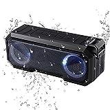 Waterproof bluetooth speaker, Bluetooth 5.0, With Led Light, Louder Volume & Enhanced Bass, IPX7 Waterproof, Durable Loud Speaker Bluetooth for Travel, Outdoor, Sport (Black)