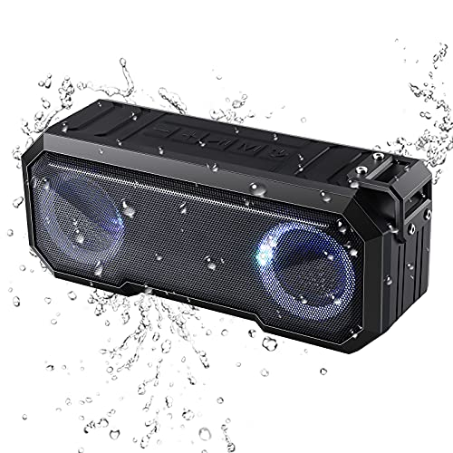 Wasserdichter Bluetooth Lautsprecher, Bluetooth 5.0, mit LED-Licht, lauterer Lautstärke und verbessertem Bass, IPX7 wasserdichter, langlebiger Lautsprecher Bluetooth für Reisen, Outdoor, Sport