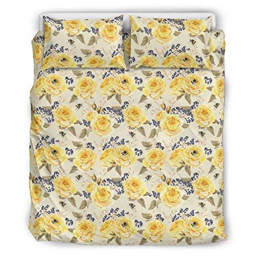 O5KFD&8 Pflanze Blume Tagesdecke Bettwäsche Set Retro 3-teilig Kopfkissen- und Kopfkissenbezüge - Soft Boho Bettwäscheset Übergröße White 229x229cm