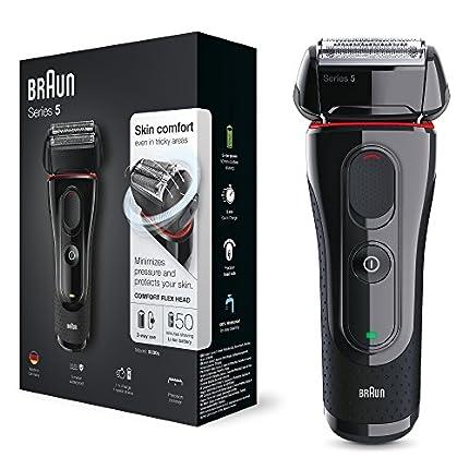Braun Series 5 Afeitadora Eléctrica Hombre, Máquina de Afeitar Barba con Recortadora de Precisión Extraíble, Recargable, Inalámbrica, 5030 S, Negro/Rojo