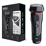 Braun 5030 Series 5 - Afeitadora Eléctrica Hombre, Afeitadora Barba, Recortador de Precisión Extraíble, Recargable e Inalámbrica, Negro/Rojo