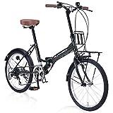 【Amazon.co.jp限定】マイパラス(Mypallas)折畳自転車 20インチ シマノ製6段変速 フロントキャリア付 LEDライト・ワイヤーロック付 AZ-205N1 モスグリーン