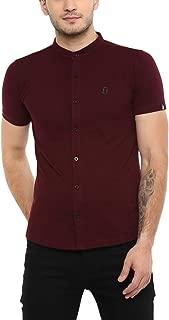 Urbano Fashion Men's Solid Cotton Polo Shirt with Mandarin Collar