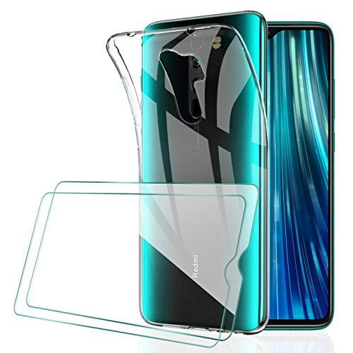 [2 Pack] KEEPXYZ Protector Pantalla para Xiaomi Redmi Note 8 Pro Cristal Templado + Funda para Redmi Note 8 Pro Silicona Transparente, Suave TPU Case Carcasa + Vidrio Templado para Redmi Note 8 Pro