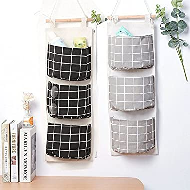 Wall Mounted 3 Bags Storage Bag Over the Door Storage Pockets Fabric Wall Door Closet Hanging Storage Bag Organizer 2 Packs for Room Toilet (Black+Grey)