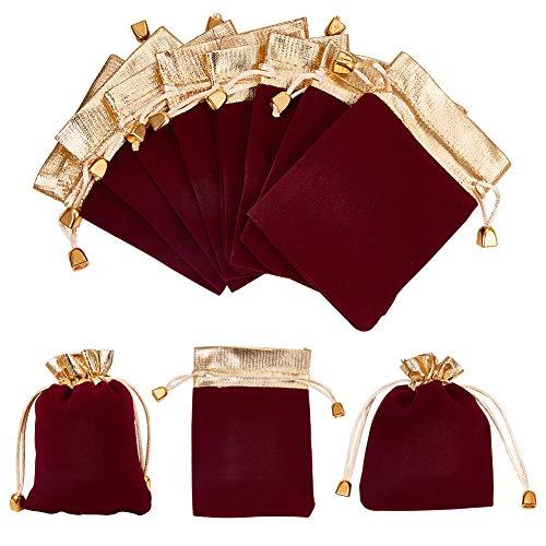 NBEADS 20Pcs Bolsas de Regalo de Terciopelo, Bolsas de Lazo Rojo Oscuro con Borde Dorado para Embalaje de Regalos de Boda, 12x10cm