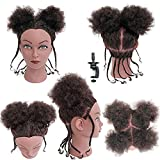 Afro Hair Mannequins Head with Human Hair Cosmetology Training Head Manican Manikin Doll Head for Hair Styling with Stand Kinky Curly Hair Head for Hairdresser Stylist Children Beauty School Students to Practice Braiding Hairstyling