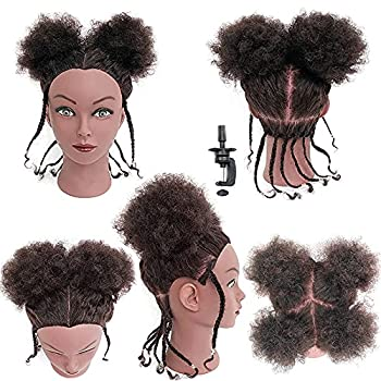 Afro Hair Mannequins Head with 100% Human Hair Cosmetology Training Head Manican Manikin Doll Head for Hair Styling with Stand Kinky Curly Hair Head for Hairdresser Stylist Children Beauty School Students to Practice Braiding Hairstyling