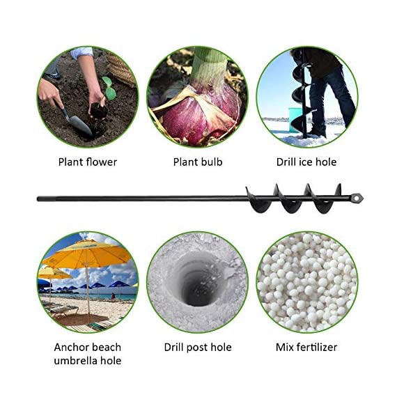 """SETROVIC Garden Spiral Hole Drill Planter 1.6""""x18"""" & 4""""x12"""" Garden Auger Bulb Planter Tool Rapid Planter Garden Drill Planter Hole Digger for 3/8"""" Hex Driver Drill 2-in-1 Set 8 【2-in-1 Set】1.6""""x18"""" & 4""""x12"""" bulb planter suitable for various planting requirements. Thickened and elongated drill enables easier drilling and thickened link rod is more durable and resistant, quickly digs holes up using the power of your hand held drill. 【High Quality Products】 Made of heavy duty steel, with premium glossy painted finish. The auger drill bit point on it hits the ground first and keeps it steady when you are digging hard grounds. The rod is connected with the shaft, it's difficult to break.This auger drill bit is suitable for most 3/8"""" hex drive drill. 【Efficient Planting】Our bedding plants drill bit will make hundreds of holes in few minutes, makes hole digging easier, it will save your time & save your back. The long size drill bit allows you to stand and dig. It can save much effort for you in massive digging."""