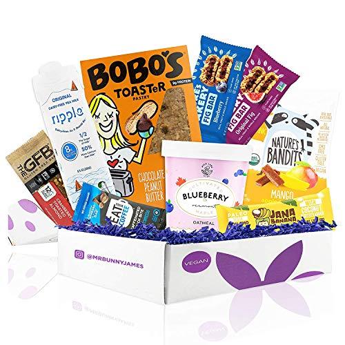 Vegan Breakfast Snacks Care Package - Premium Breakfast Snack Bars, Coffee Bar, Oatmeal Cup, Dairy Free Pea Milk & Fruit Snacks - Great Gift for Vegans