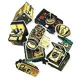 PMSMT 9 pièces caméra nostalgique Cool Graffiti Autocollant Valise Chariot étui étanche rétro caméra Vintage Gramophone Bricolage Style Autocollant
