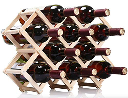 Nanmara 折りたたみ式 ワインラック 木製 ホルダー ワイン シャンパン ボトル 収納 ケース スタンド インテリア(10本収納)