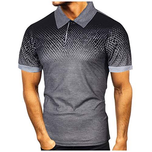 Chemises Homme Manches Courtes Classique T-Shirt Imprimé Dégradé Haut Homme Pas Cher Sport Top Blouse Polos de Tennis de Table de Golf Homme Cebbay(Gris foncé,L)