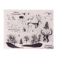 jokeWEN クリアスタンプ シリコンスタンプ 鹿の鳥透明なクリアシリコンスタンプDIYスクラップブッキングフォトアルバムの装飾