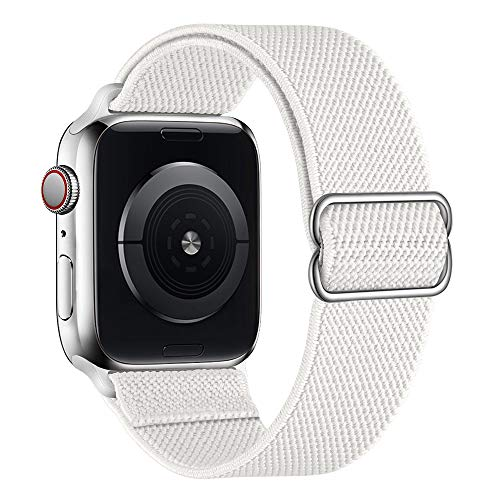 SIRUIBO Stretchy Nylon Solo Loop Bands Compatible with Apple Watch 38mm 40mm, Adjustable Stretch Braided Sport Elastics Women Men Strap Compatible with iWatch Series 6/5/4/3/2/1 SE, White