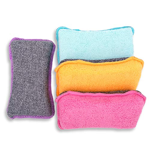 Microfiber Scrubber Sponge - Non-Scratch Kitchen Scrubbies, Dishwashing and Bathroom Sponges, Pack of 4, Size 6x3x1.6 Inch by UPSTAR