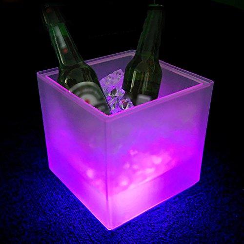 Galapare Secchiello per Ghiaccio LED, 3,5 l Secchiello Ghiaccio, con LED Che Cambia Colore, refrigeratore per Bevande,Quadrato, Stile retrò, per Birra, Champagne, Vino, Bar, casa, Matrimoni, Feste