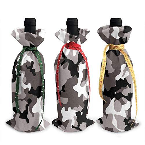 3 x Weinflaschen-Abdeckungen, schwarz, grau, weiß, Camouflage, für Dekoration