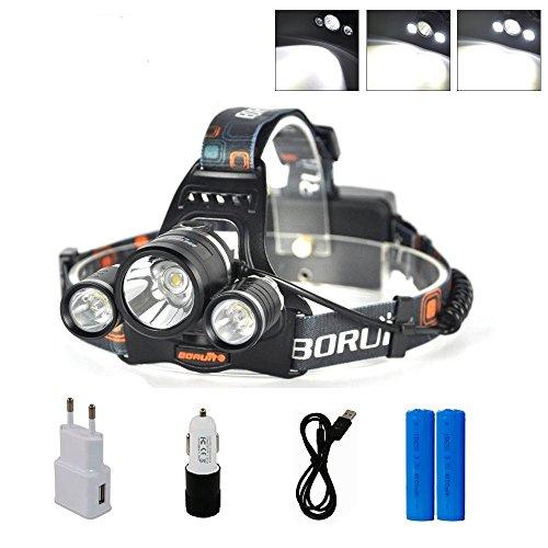 Glighone Boruit Lampe Frontale LED Rechargeable Super Puissante Troche Étanche Chargeur USB 6000LM 4 Modes 3XM-LT6 pour Escalade Camping Pêche de Nuit Vélo Cave VTT Spélo