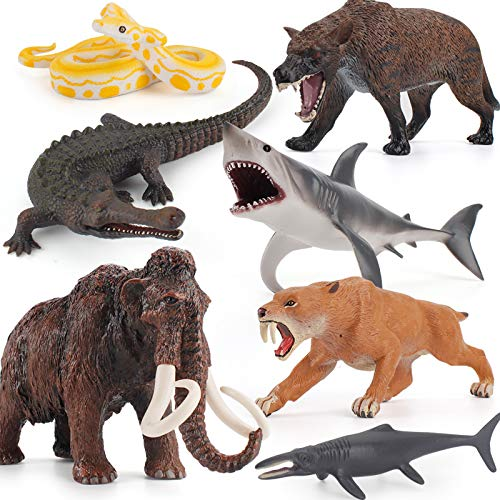 7 PCS Ancient Creatures Animal Model Figures Mammoth Saber-Toothed Tiger Shark Crocodile Snake Party Favors Cake Toppers Decoration Toys for 5 6 7 8 Years Old Boys Girls Kid Toddlers