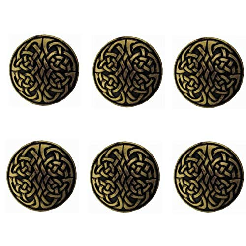 PUMICHA Conchos Supplies for Set of 6 Western Horse Saddle TACK Leather Craft 1-1/8' Celtic Conchos screwback for Jeans, Casual, Cowboy, Work Wear