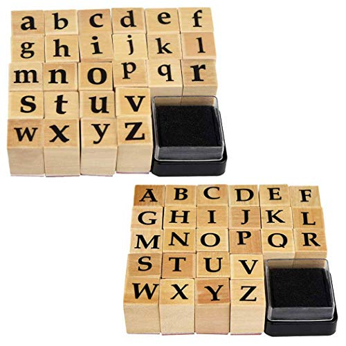 Wooden Rubber Stamps, Miayon 52Pcs Vintage Wood Letter Stamps Alphabet Stamps for Card Making DIY Craft Scrapbooking