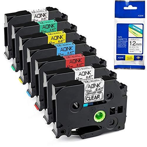 AQINK - 7 x TZe-231 TZe 231 TZe-131 TZe-431 TZe-531 TZe-631 TZe-731 TZe-931 TZe-931 per etichettatrici Brother P-Touch PT-1000 PT-H101C GL-H105 PT-2030VP PT-1010 PT-D210 PT-D400 – 12 mm x 8 m